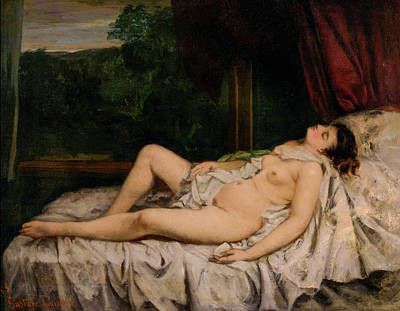 Courbet Painting - Sleeping Nude by Gustave Courbet