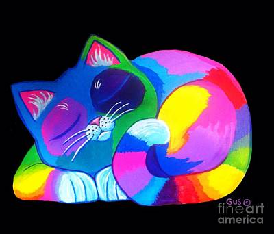 Painting - Sleepy Colorful Cat by Nick Gustafson