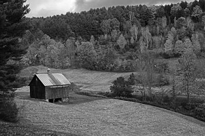 Photograph - Sleepy Hollows Farm Woodstock Vermont Vt Pond Shack Foliage Black And White by Toby McGuire