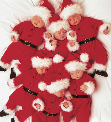Print featuring the photograph Sleepy Santas by Anne Geddes