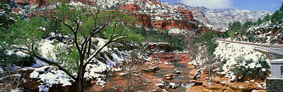 Snowy Brook Photograph - Slide Rock Creek In Wintertime, Sedona by Panoramic Images