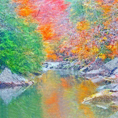 Digital Art - Slippery Rock Creek In Autumn by Digital Photographic Arts