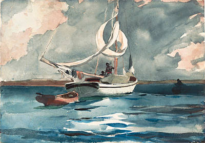 Winslow Homer Drawing - Sloop. Nassau by Winslow Homer