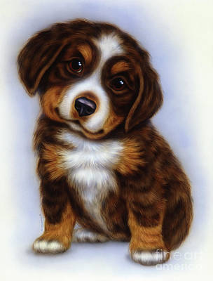 Puppies Mixed Media - Small Puppy 10 by Michael Seleznev