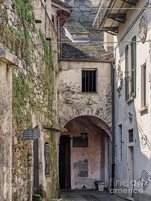 Small Streets In City At The Island In Lake Orta  Italy Print by Frank Bach