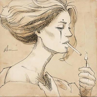 Hairstyle Drawing - Smoke Break by H James Hoff