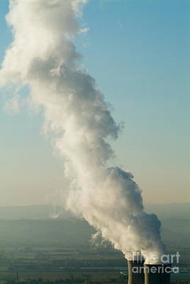Smoke Emitting From Cooling Towers Of Tricastin Nuclear Power Plant Print by Sami Sarkis