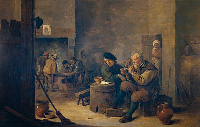 Pipe Painting - Smokers by David Teniers the Younger