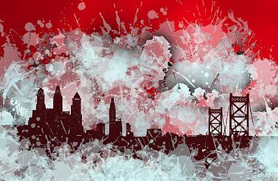 Philadelphia Digital Art - Smudge Philadelphia Skyline. Red by Alberto RuiZ