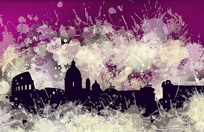 Rome Digital Art - Smudge Rome Skyline. Violet by Alberto RuiZ