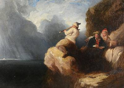 Night Out Painting - Smugglers Looking Out To Sea by Henry Perlee