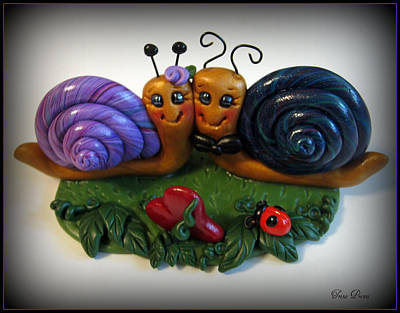 Snails In Love Art Print by Trina Prenzi