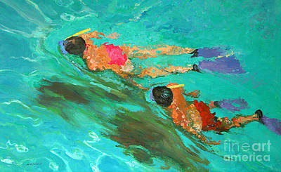 Swimmer Painting - Snorkelers  by William Ireland