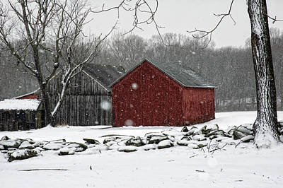 Snow Barns Art Print