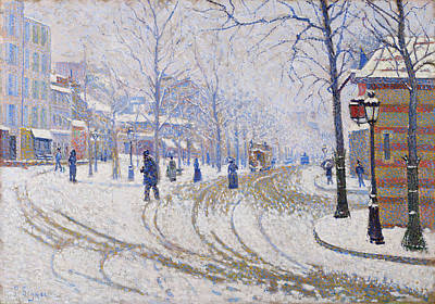 Streetscape Painting - Snow, Boulevard De Clichy, Paris by Paul Signac