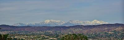 Mount Baldy Photograph - Snow Capped San Gabriel Mountains Panorama 1 by Linda Brody