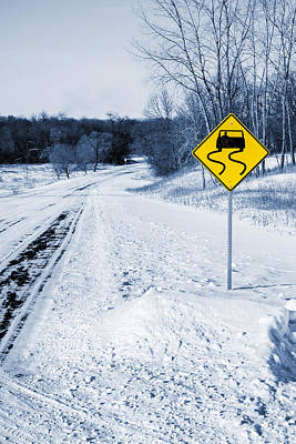 Snow Covered Winter Road Blue Tone Art Print by Donald  Erickson