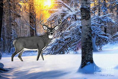 Digital Art - Snow Deer by Walter Colvin