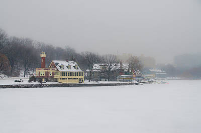Snow Falling On Boathouse Row Art Print