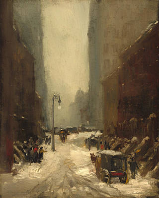 Snowstorm Painting - Snow In New York by Mountain Dreams