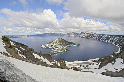 Snow On Crater Lake Hdr Art Print