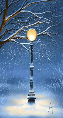 Lamppost Painting - Snow by Veronica Minozzi