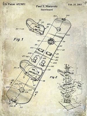Snowboard Patent Drawing Art Print by Jon Neidert