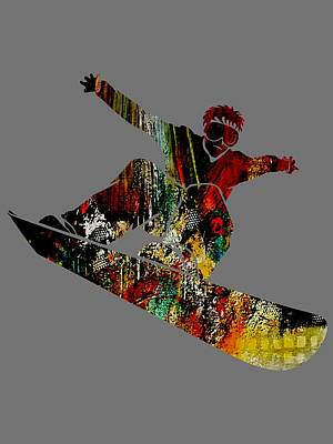 Downhill Mixed Media - Snowboarder Collection by Marvin Blaine