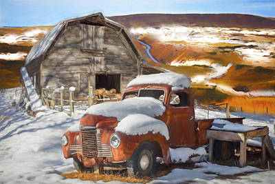 Photograph - Snowbound International Truck Painting by Debra and Dave Vanderlaan