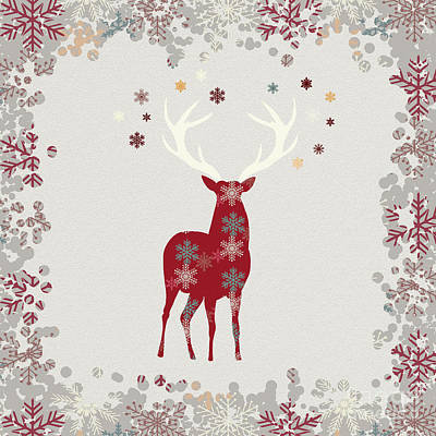 Christmas Digital Art - Snowflake Christmas Stag by Amanda Lakey