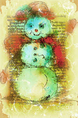 Mixed Media - Snowman  by Claire Bull