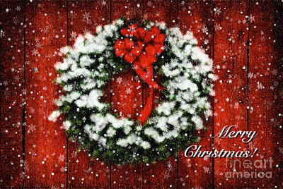 Photograph - Snowy Christmas Wreath Card by Lois Bryan