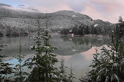 Snowy Green Lake Sunset Whistler B.c Canada Art Print by Pierre Leclerc Photography