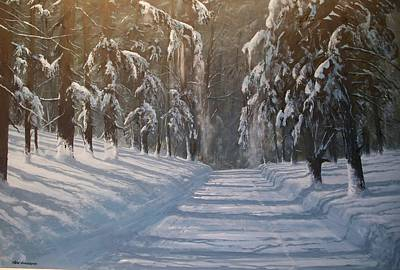 Art Print featuring the painting Snowy Road by Ken Ahlering