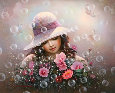 Soap Bubble Girl - Rose Sharon Of Song Art Print