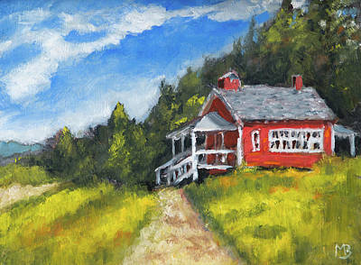 Painting - Soap Creek Schoolhouse by Mike Bergen