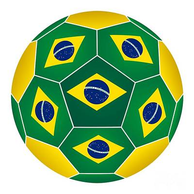 Photograph - Soccer Ball With Brazilian Flag by Michal Boubin
