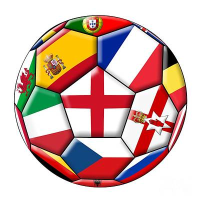 Czech Digital Art - Soccer Ball With Flag Of England In The Center by Michal Boubin