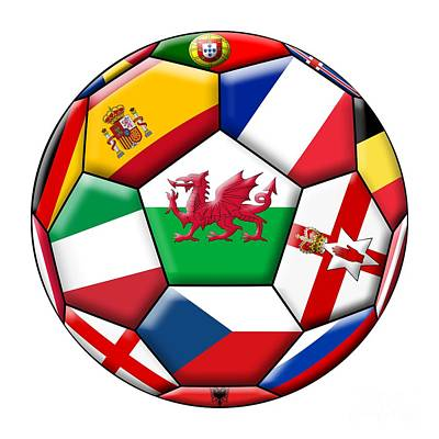Soccer Ball With Flag Of  Wales In The Center Art Print by Michal Boubin