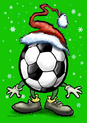 Soccer Christmas Art Print by Kevin Middleton