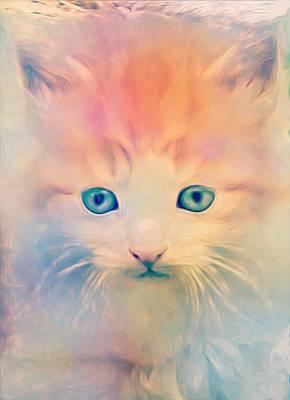 Adorable Digital Art - Soft Kitty by Jenn Teel