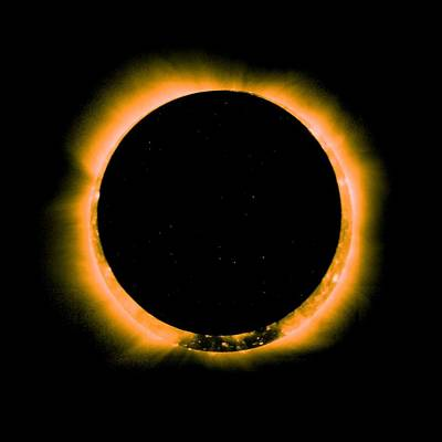 Painting - Solar Eclipse By Hinode Observes, Nasa 5 by Celestial Images
