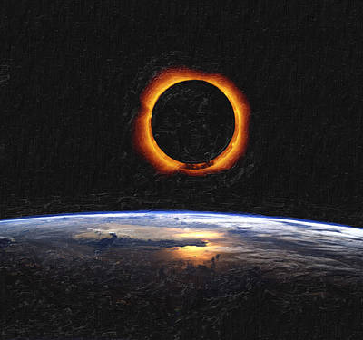 Solar Eclipse From Above The Earth Art Print