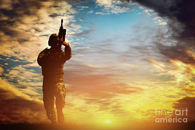 Run Photograph - Soldier In Combat Shooting With His Weapon, Rifle. War, Army Concept by Michal Bednarek