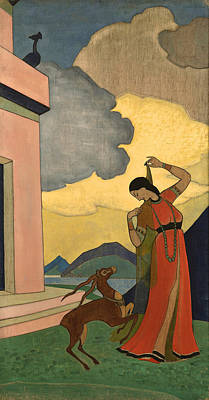 Peaceful Scene Painting - Song Of The Morning by Nicholas Roerich