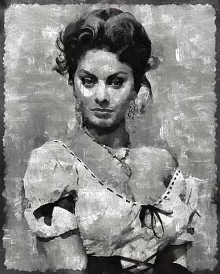 Actors Paintings - Sophia Loren Hollywood Actress by Mary Bassett