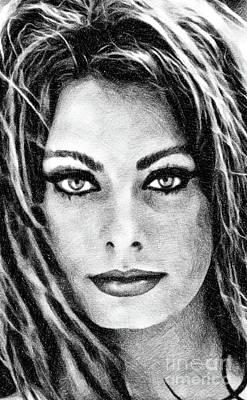 Musicians Drawings - Sophia Loren, Vintage Actress by JS by John Springfield