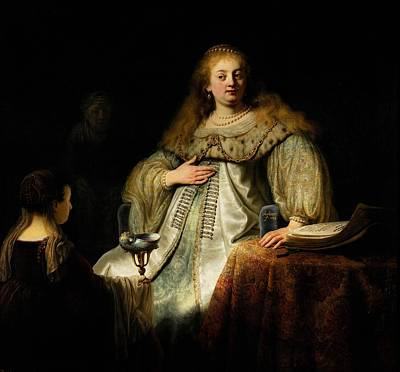 Novel Painting - Sophonisba, Receiving The Poisoned Cup by Rembrandt van Rijn