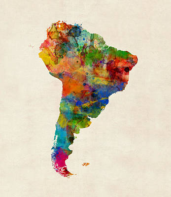 Digital Art - South America Watercolor Map by Michael Tompsett