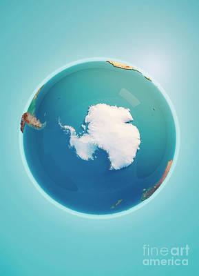 South Pole 3d Render Planet Earth Art Print by Frank Ramspott